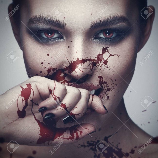 sexy, woman, vampire, blood, on, face, 56635406, her, com, with
