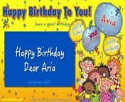 """Happy Birthday Dear Aria"" is a personalised version of the popular Happy Birthday song, originally based on a melody written by Patty and Mildred Hill, performed by Jump Singers. This version is arranged and produced by Dave Wall in a partytime style, for young children. It is published by CYP Music.This video, which includes the song words onscreen, is produced to encourage young children to join in with the singing of ""Happy Birthday To You"" at children's parties.""Happy Birthday Dear Aria"" is taken from the album ""Happy Birthday To You Volume Two"". Originally published by CYP Limited in 2019, this album is available on:iTunes at https://smarturl.it/targtmApple Music at https://smarturl.it/dtc2ygAmazon Music at https://www.amazon.co.uk/dp/B07SJT9LGLSpotify at http://open.spotify.com/album/1UaysLVeq74n3pko4fFxv3YouTube Music at http://bit.ly/2JlwXopGoogle Play at http://bit.ly/2NATtObDeezer at http://www.deezer.com/album/97886562Like us on Facebook: https://www.facebook.com/kidsmusicCYP/Follow us on Twitter: http://twitter.com/Kidsmusic_CYPFollow us on Instagram: https://www.instagram.com/kidsmusiccyp/Website: https://www.kidsmusic.co.uk/YourKidTV - La chaîne dédiée aux enfants -SUIVEZ-NOUS ICI : http://www.dailymotion.com/Yourkidtv YourKidTv est la chaîne dédiée pour vos enfants. Retrouvez des comptines , des chansons, des vidéos éducatives et autres pour vos enfants et nouveaux nés. Abonnez-vous gratuitement pour rester facilement connecté et accéder rapidement à nos nouvelles vidéos !Facebook FanPage: http://www.facebook.com/yourkidtvRetrouvez aussi toutes vos playlists préférées et bien plus encore sur Deezer : https://lnk.to/Your_Kid_Deezer et Spotify : https://lnk.to/Your_Kid_Spotify"